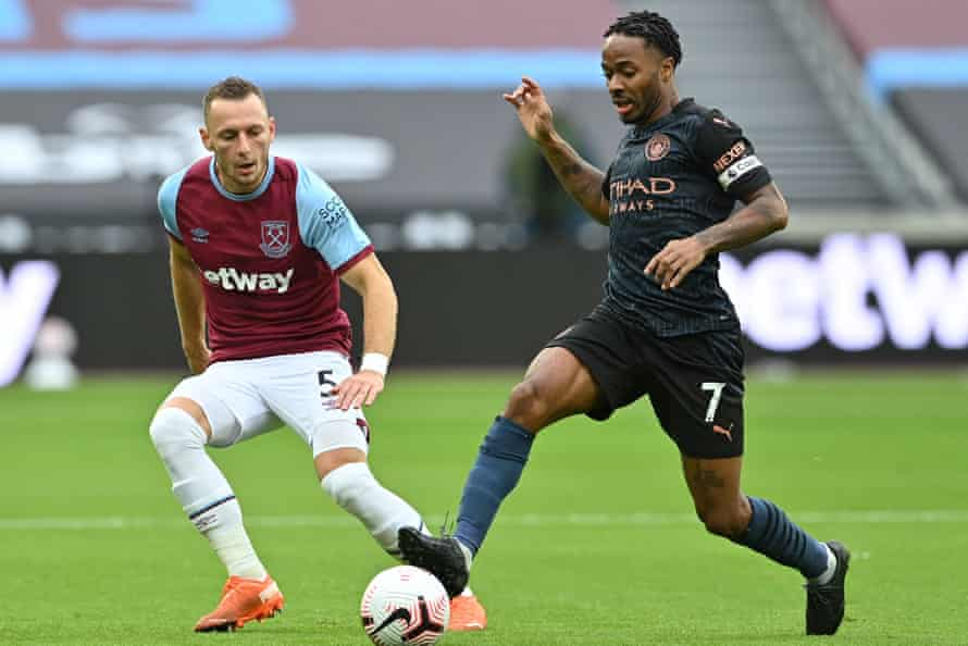 Vladimir Coufal, in action here with Manchester City's Raheem Sterling (right), has impressed at right wing-back.