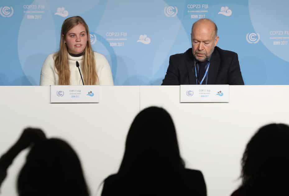Climate expert and activist James Hansen and his granddaughter Sophie Kivlehan.