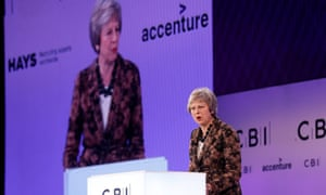 Theresa May speaking at the CBI conference.
