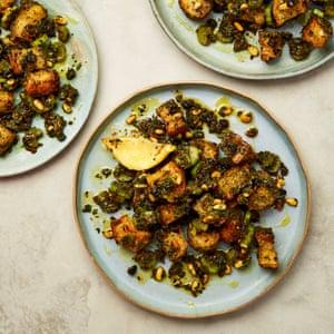 Meera Sodha's bread salad with kale, pine nuts and roast lemon.