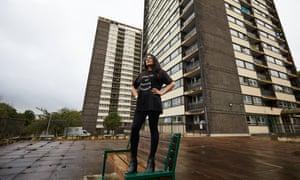 Campaigner Saiqa Naz outside  Seven Sisters towers