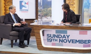 Peston interviewing Philip Hammond on his Sunday politics programme this month.