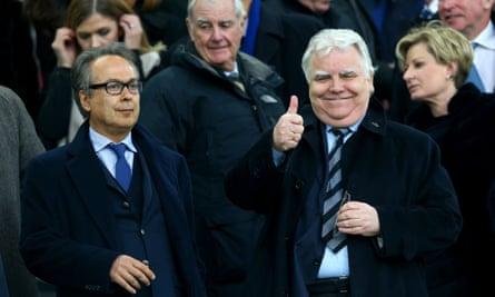 Everton's majority investor, Farhad Moshiri,, left, and the chairman, Bill Kenwright, prepare for the FA Cup quarter-final against Chelsea.