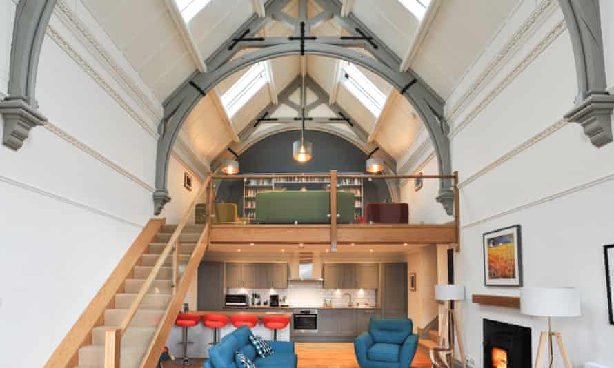 Interior with mezzanine, The Five Turrets, Selkirk, Scottish Borders, UK.