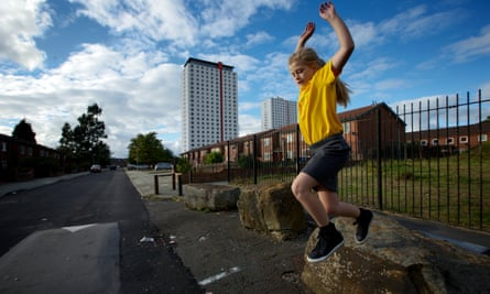 Child plays in Thomond, Salford