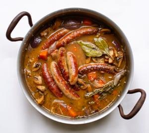 Use the same pan to maximise flavour: sausage and mushroom Christmas stew.