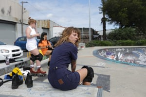 Sam Trayhurn (foreground) with Sophie Pizzuto and Suga Valbuena at Sydenham Green Skate Park