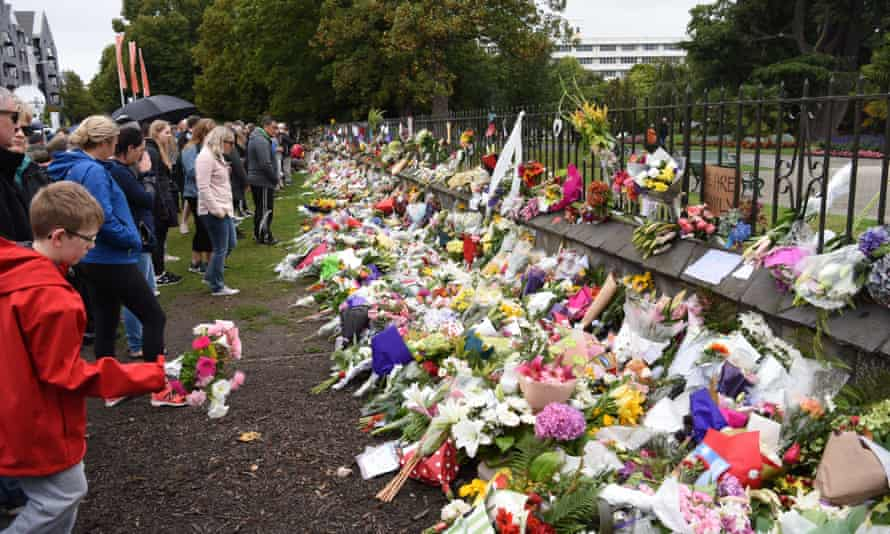 Floral tributes are seen after the terrorist attacks on two mosques in Christchurch, New Zealand