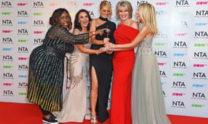 Left to right: Chizzy Akudolu, Shirley Ballas, Tess Daly, Ruth Langsford and Mollie King accepting the best talent show award for Strictly Come Dancing.