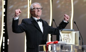 Mighty and supreme ... Ken Loach accepts his second Palme d'Or