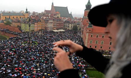 Protesters in Warsaw on 3 October 2016.