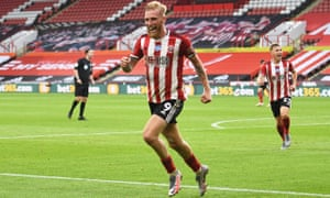 Sheffield United's Oliver McBurnie celebrates scoring their third goal.