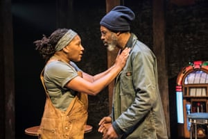 Clare Perkins and Wil Johnson in Sweat at the Donmar Warehouse directed by Lynette Linton.