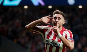 Hector Herrera celebrates after scoring the equaliser that made it 2-2 for Atletico Madrid against Juventus.