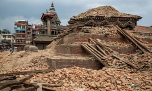 The remains of a collapsed temple in Nepal