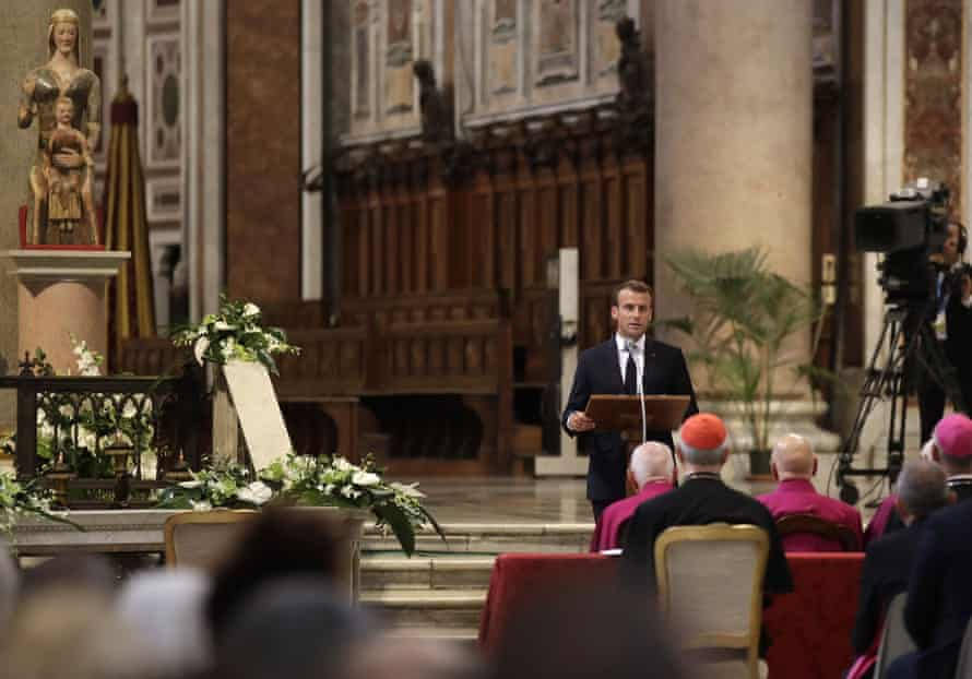 Macron speaks during a ceremony to receive the title of honorary canon of St John Lateran, the cathedral of Rome