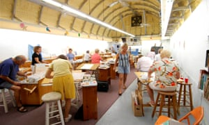 Residents of Briny Breezes take part in a class in the town's art center in January 2006.