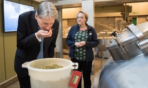 Chancellor Philip Hammond being shown around Fuller's Brewery, in Chiswick, today.