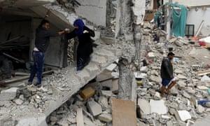 Bombed building in Yemen