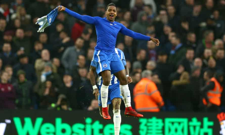 Jose Izquierdo celebrates scoring Brighton's second goal against West Ham.