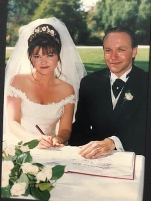 Ursula Benstead and Simon Thompson on their wedding day
