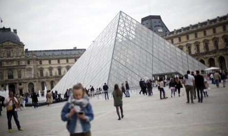 The great glass pyramid at the heart of the Louvre in Paris, created by the architect IM Pei.