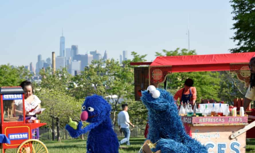 Sesame Street on location in New York City.