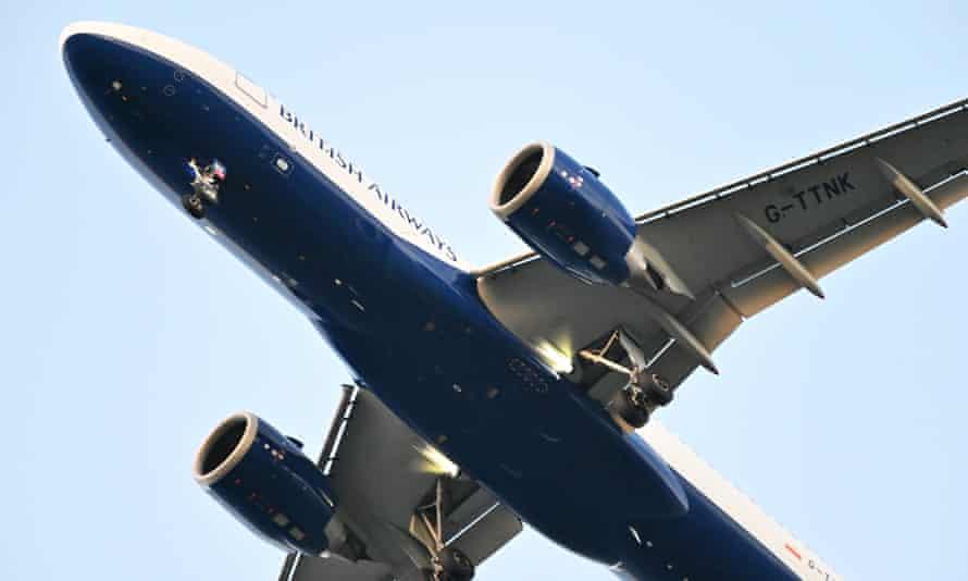 A British Airways plane on its final approach into Edinburgh airport.