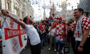 Croatia v England: supporters meet in Moscow before the match.