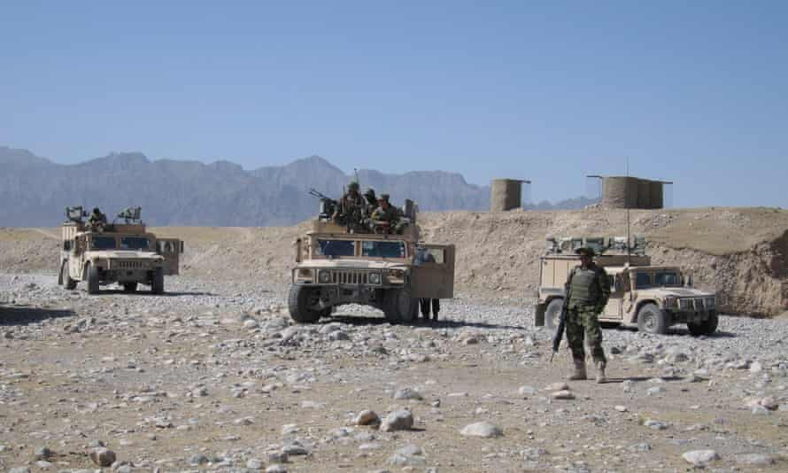 Afghan National Army soldiers participating in a joint vehicle patrol with Australian troops near the town of Dehrawud, Oruzgan Province, Afghanistan in 2012