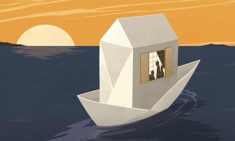 Illustration of floating house