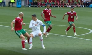 Ronaldo appealed for a penalty after this challenge.