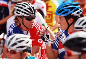 Cyclists Nicole Cooke (on left) and Lizzie Armitstead at the 2011 Road World Championships.
