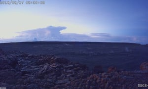 The ash plume at the Kīlauea Volcano, taken from a Mauna Loa webcam on Thursday in Hawaii.