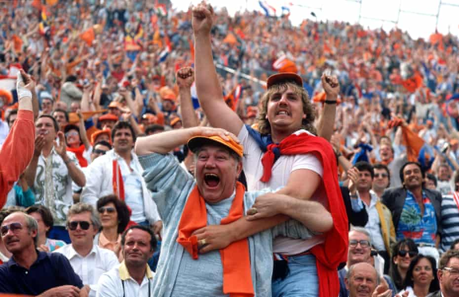 Dutch supporters celebrate after Ruud Gullit puts the Dutch ahead against the USSR in the 1988 final.