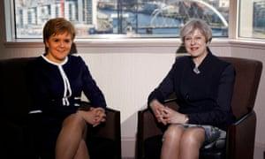 Nicola Sturgeon meets Theresa May at the Crowne Plaza hotel in Glasgow.
