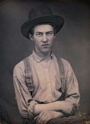 Unknown photographer. Unidentified young man in a hat and suspenders. c.1850. Daguerreotype