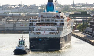 Cruise Ship Saga Sapphire being pulled away from cruise terminal by tug, at Stockholm Sweden.