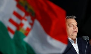 Viktor Orban addresses supporters after the announcement of the partial results of parliamentary election tonight.
