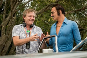 Stephen Elliot and Julian McMahon on the set of Swinging Safari.