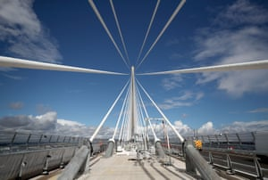 Cables and towers are seen as final works are carried out on the Queensferry Crossing, the new road bridge over the Firth of Forth, Scotland