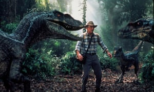 Sam Neill, as Dr. Alan Grant, encounters a group of raptors Jurassic Park III. His garb typifies the public perception of a palaeontologist.