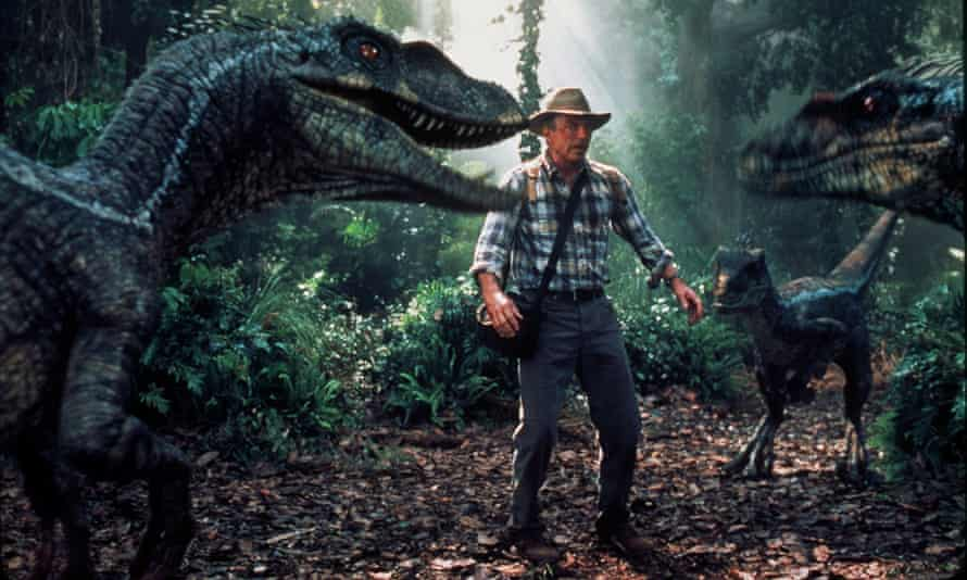 Sam Neill faces three velociraptors in Jurassic Park. The social carnivores are believed to have worked together in packs.