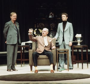 John Gielgud (left) and Ralph Richardson (centre) in No Man's Land at the Old Vic, 1975