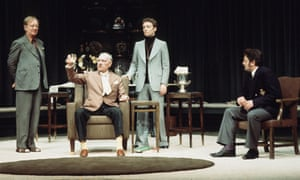 John Gielgud, Ralph Richardson, Michael Feast and Terence Rigby in No Man's Land at the National Theatre in 1975.