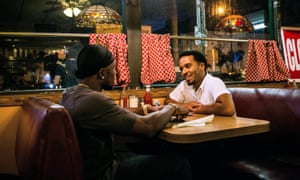 Power and generosity … Trevante Rhodes (Black) and André Holland (Kevin) in Moonlight.