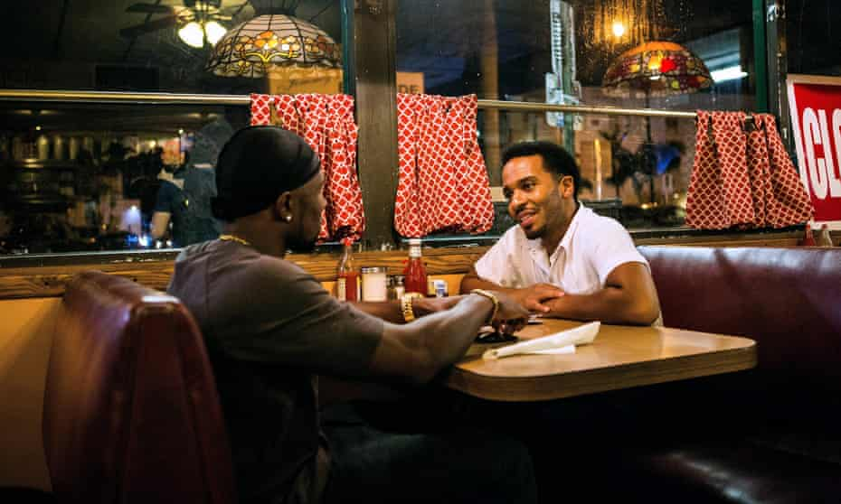 Trevante Rhodes and Andre Holland in Moonlight