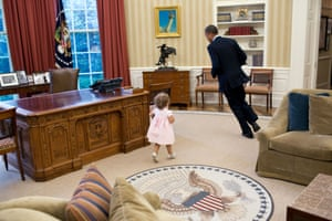 Children are also very good at destroying the formality of even the most hallowed people and places. Here the Oval Office becomes a playground and the president a playmate.