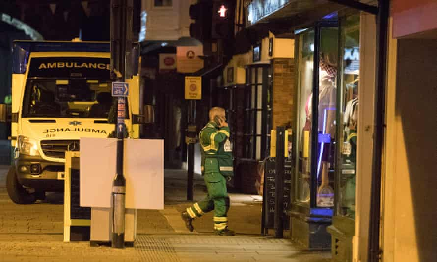 A member of the emergency services at the Prezzo restaurant.