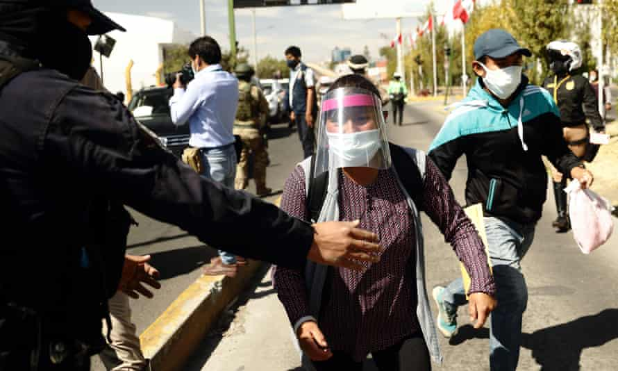 Celia Capira who ran sobbing and yelling after the white truck carrying Peru's president Martín Vizcarra begging him to go and see for himself the conditions in the hospital where her husband was fighting for his life.